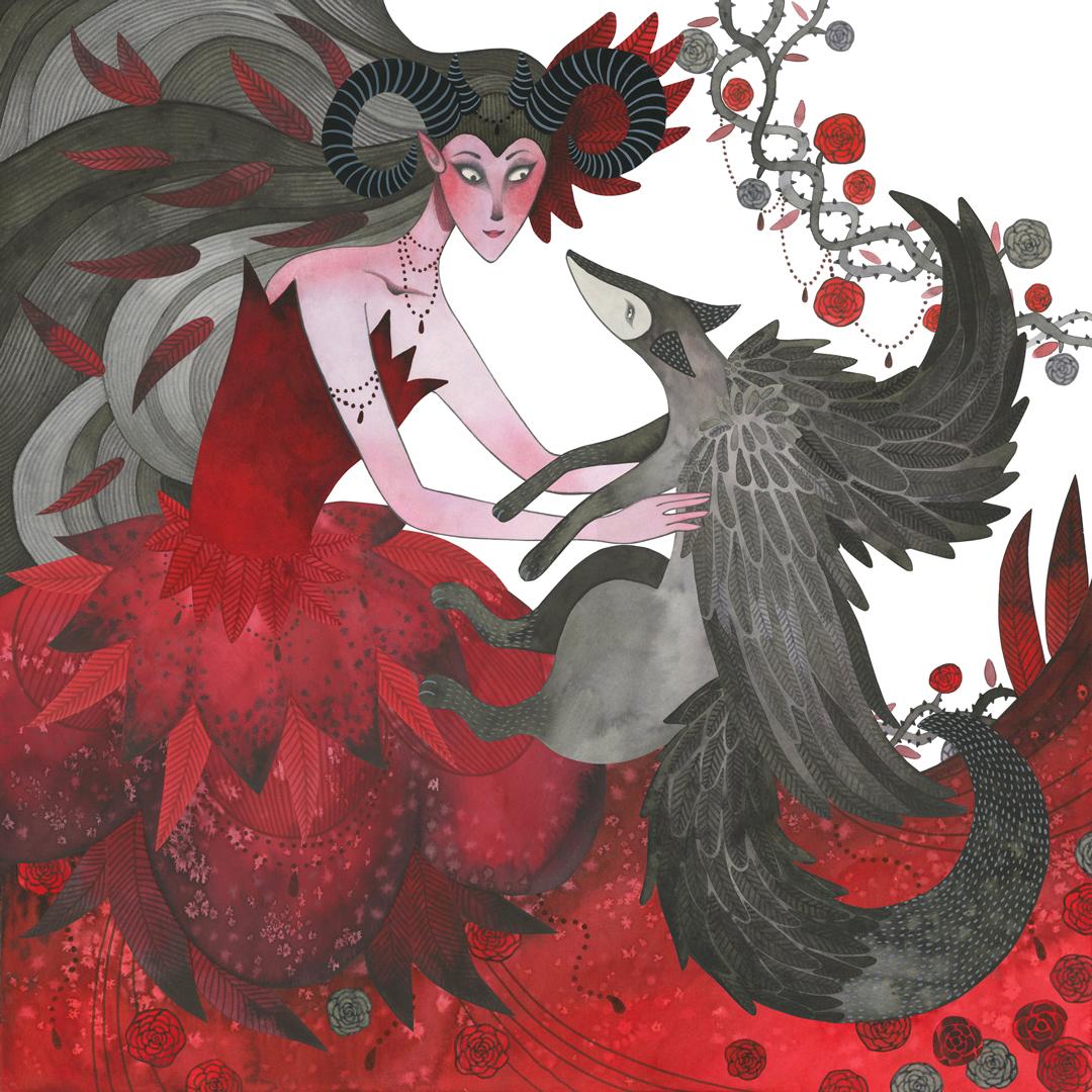 Sanne Bruinsma Illustraties & Vormgeving illustratie illustrator waterverf aquarel tekening schilderij fantasy vos meisje jurk
