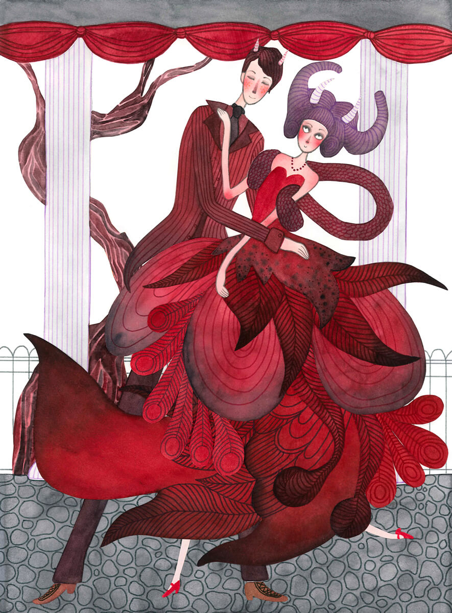 Sanne Bruinsma Illustraties & Vormgeving illustratie illustrator dance with the demon duivel couple lovers dansen ballroom jurk ballgown gentleman fantasy