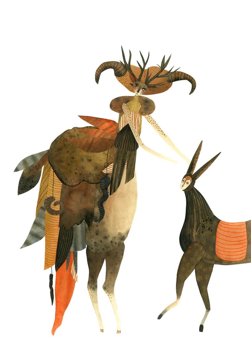 Sanne Bruinsma Illustraties & Vormgeving illustratie illustrator forest creatures bos woud figuren dieren hert gewei fantasie hoorns hoeven herfst autumn