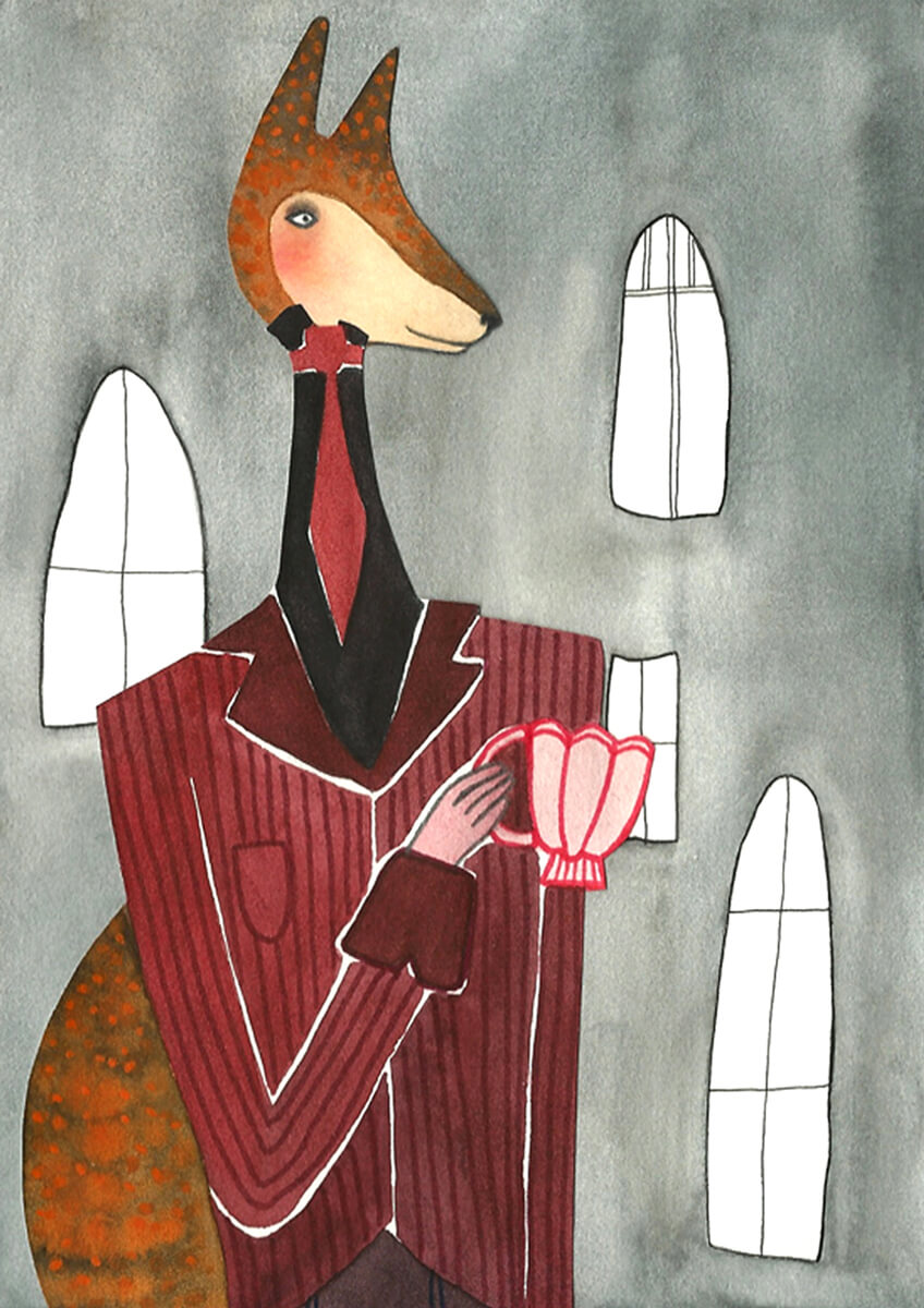 Sanne Bruinsma Illustraties & Vormgeving illustratie illustrator foxy gentleman vos heer karakter pak elegant kopje stropdas fantasy