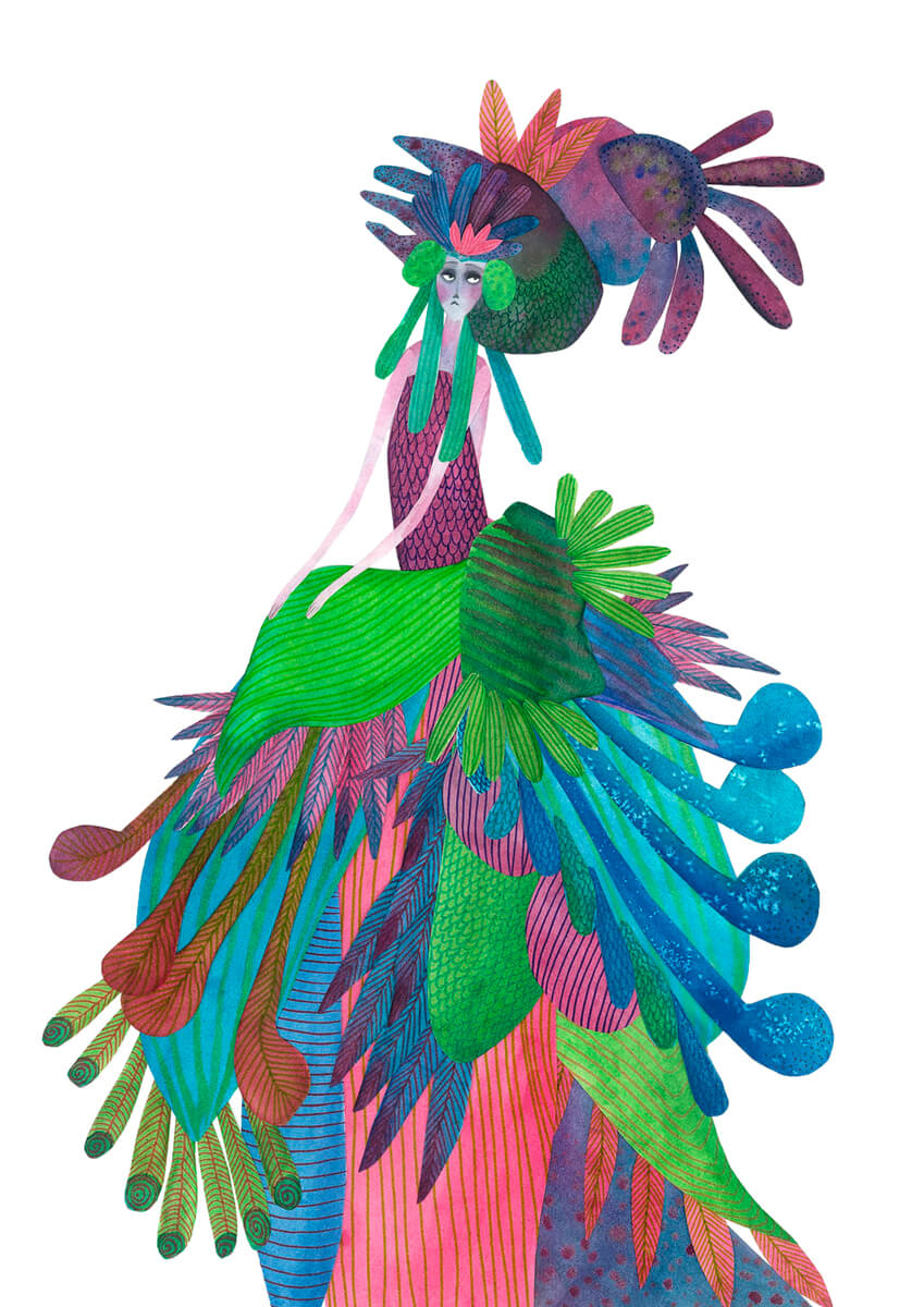 Sanne Bruinsma Illustraties & Vormgeving illustratie illustrator peacock dress pauw jurk kostuum costume elegant lady fancy veren feathers ballgown prinses queen fantasy