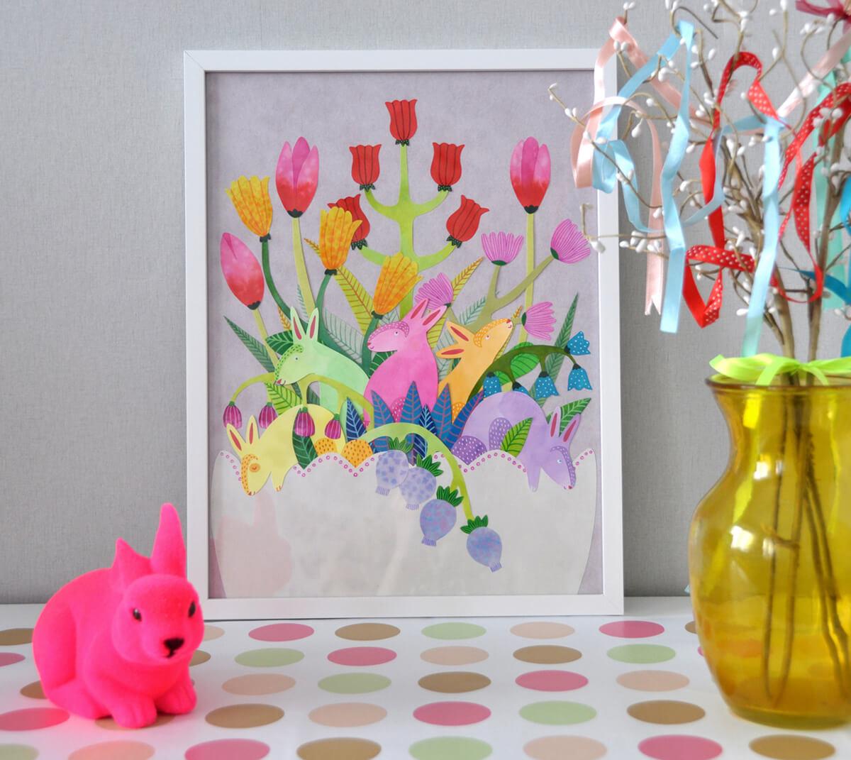 Sanne Bruinsma Illustraties & Vormgeving illustratie spring lente bunnies print lijst interieur pasen pastel kleuren neon konijn vaas inrichting huis decoratie