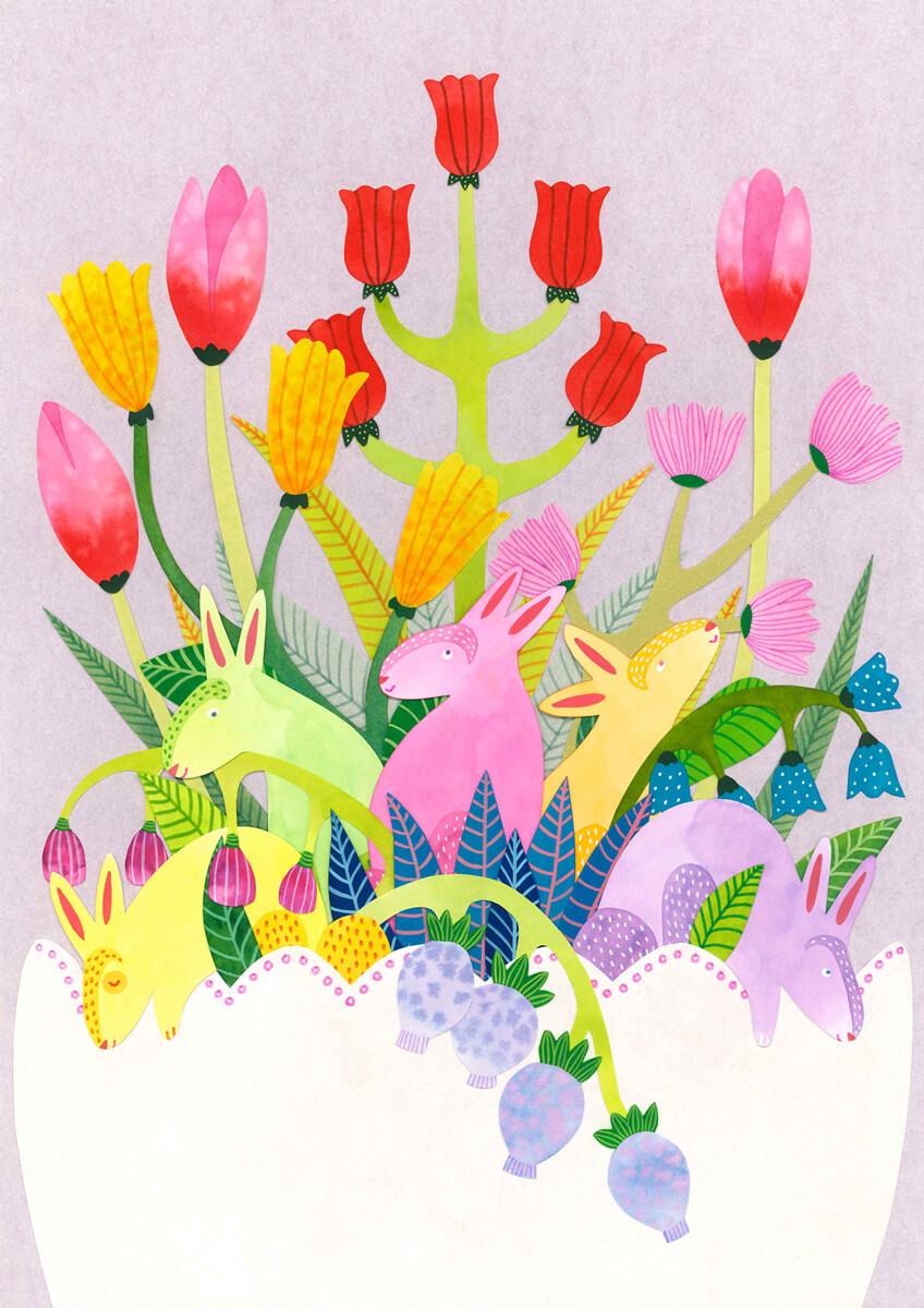 Sanne Bruinsma Illustraties & Vormgeving illustratie illustrator Pasen konijnen print lente bloemen pastel planten bladeren Easter waterverf collage