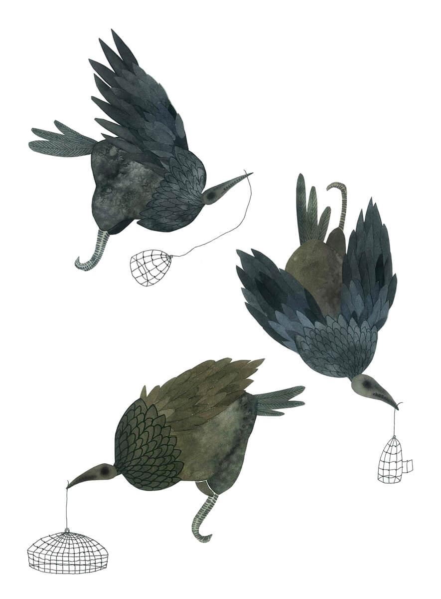 Sanne Bruinsma Illustraties & Vormgeving illustratie illustrator birds vogels skull schedel skelet fantasy mysterious collage waterverf