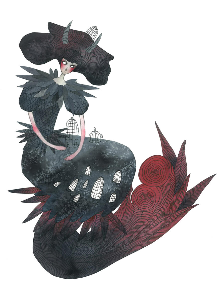 Sanne Bruinsma Illustraties & Vormgeving illustratie lady raven veren kooien feathers cages fantasy illustration jurk elegant spooky beautiful whimsical