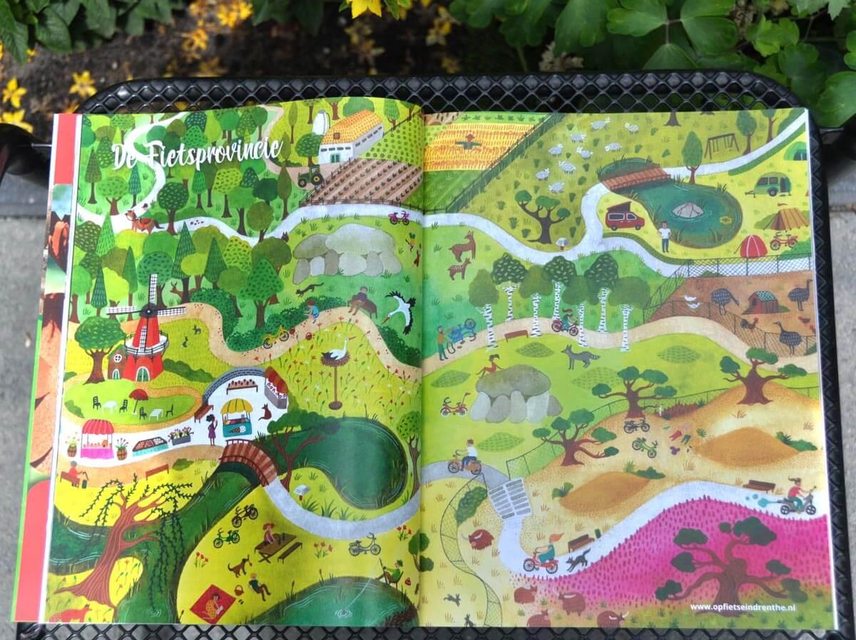 Sanne Bruinsma Illustraties & Vormgeving illustratie drenthe magazine editie 2 2017 fietsen in Drenthe zoekplaat tijdschrift Drents cultureel natuur blad avontuur fietsroute