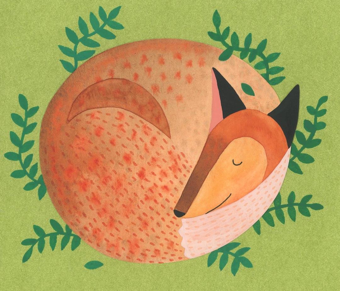 Sanne Bruinsma Illustraties & Vormgeving illustratie vos vosje planten favoriete dier slapen Elle Aime teken challenge