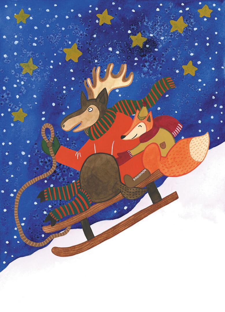 Sanne Bruinsma Illustraties & Vormgeving kerst kerstkaart ansichtkaart post Christmas eland vos slee sneeuw berg sterren nacht