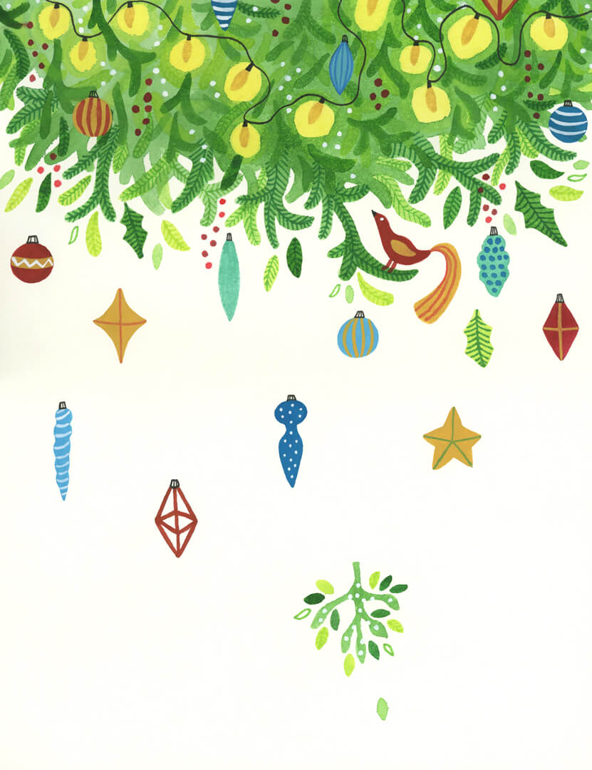 Sanne Bruinsma Illustraties & Vormgeving kerst kerstkaart ansichtkaart post Christmas mistletoe kerstboom versiering lampjes kerstbal vogel ster winter