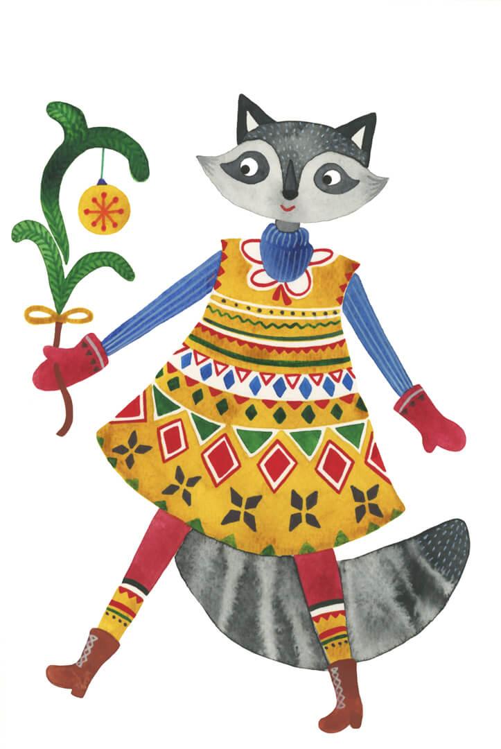 Sanne Bruinsma Illustraties & Vormgeving kerst kerstkaart ansichtkaart post Christmas wasbeer winter jurk trui overgooier dier kerstbal raccoon