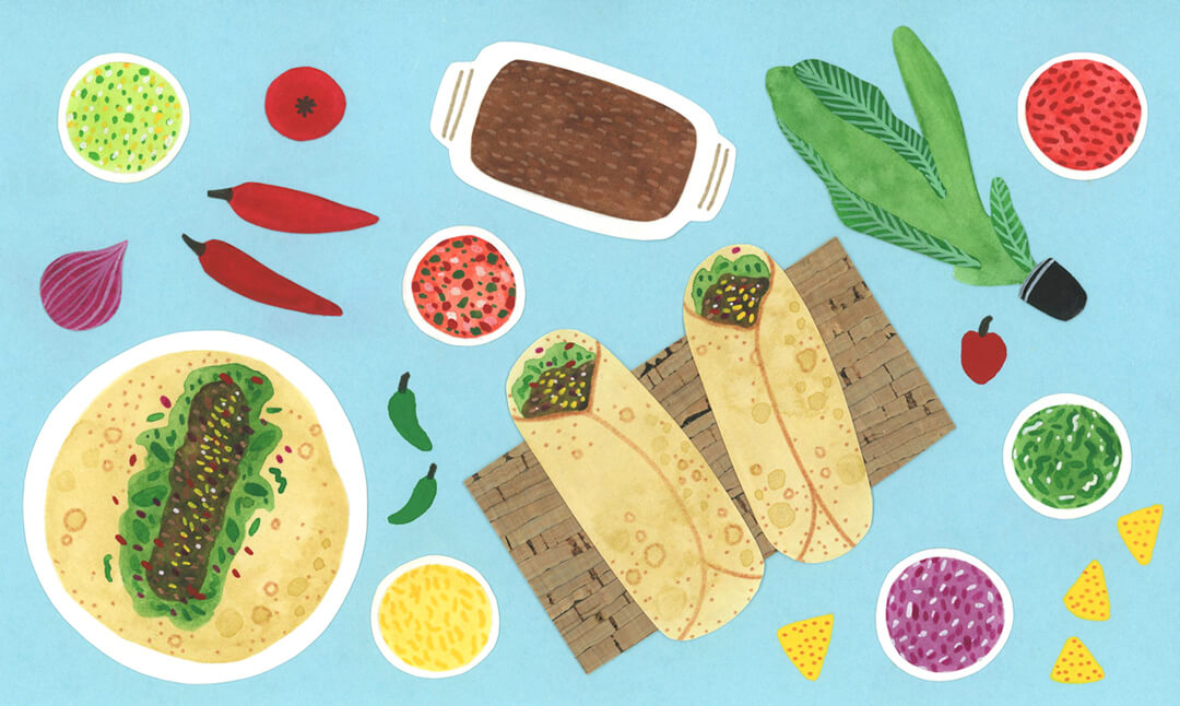 Sanne Bruinsma Illustraties & Vormgeving illustratie collage eten food taco nacho tortilla salsa mexicaans Elle Aime teken challenge