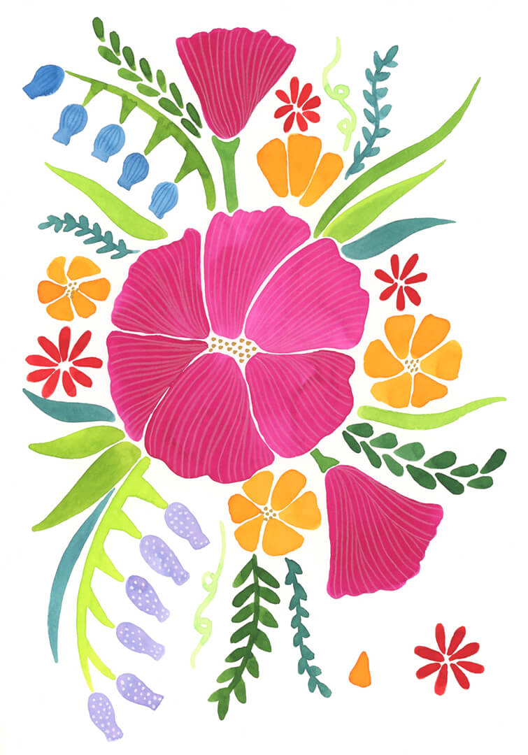 Sanne Bruinsma Illustraties & Vormgeving kaart bloemen lente illustratie planten botanisch