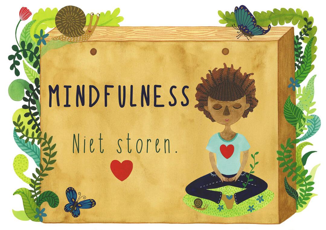 Mindfulness in de klas boek Irma Smegen lesmethode kinderen mediteren yoga rust bordje niet storen