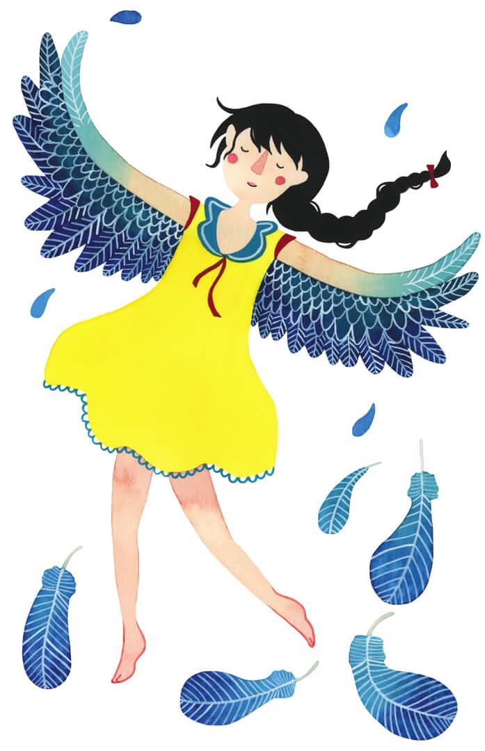 Mindfulness in de klas boek Irma Smegen illustratie gedicht Theo Olthuis vogel vliegen vleugels meisje