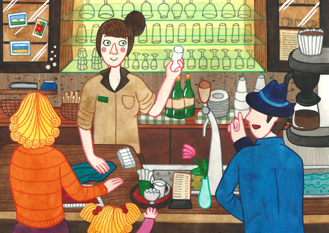 Sanne Bruinsma Illustraties & Vormgeving cultureel cafe De Amer Amen muziek concert blues country bar bartender barista
