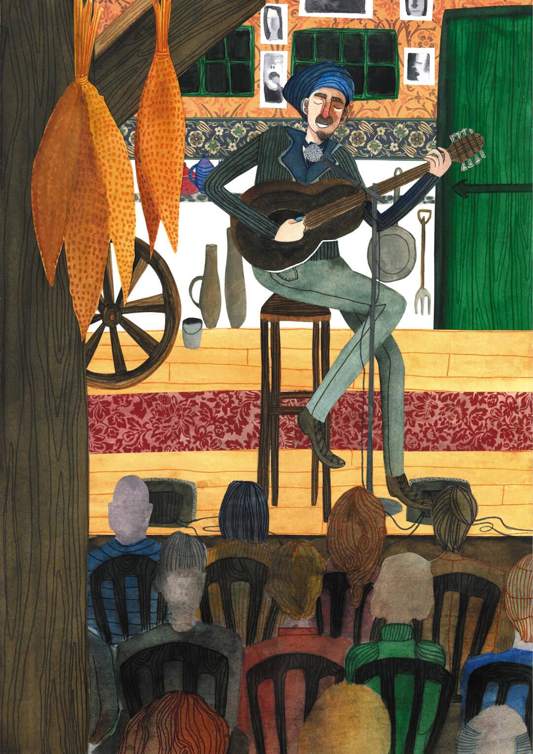 Sanne Bruinsma Illustraties & Vormgeving cultureel cafe De Amer Amen muziek podium concert optreden blues country
