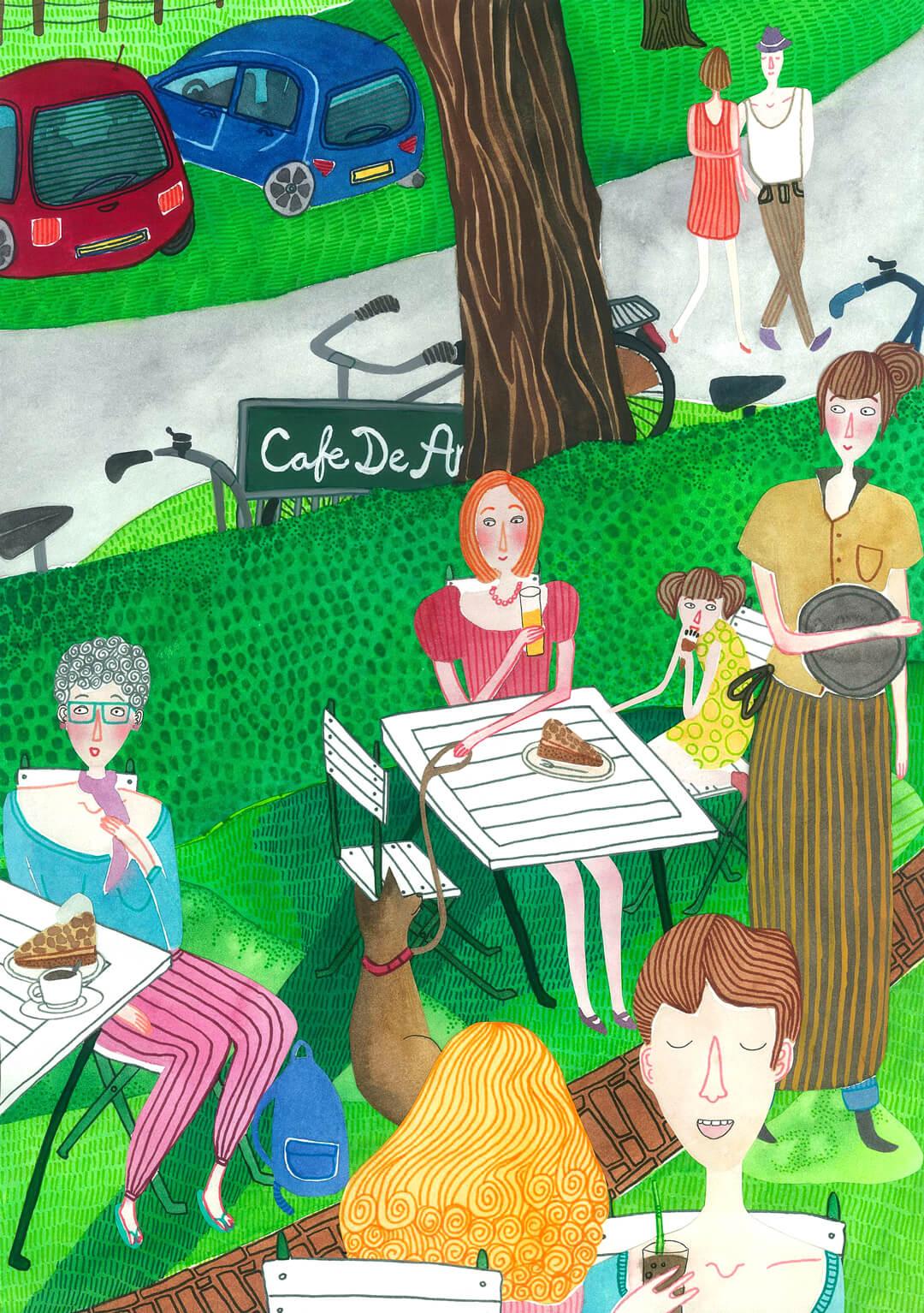 Sanne Bruinsma Illustraties & Vormgeving cultureel cafe De Amer Amen muziek terras appeltaart buiten Drenthe natuur