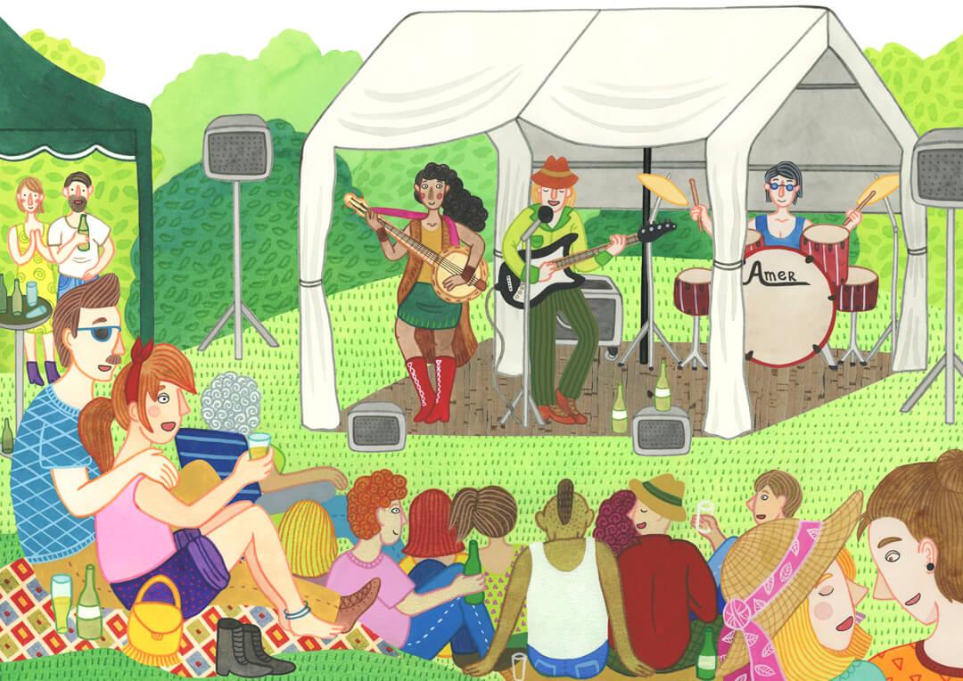 Sanne Bruinsma Illustraties & Vormgeving cultureel cafe De Amer Amen muziek concert openlucht blues country band optreden