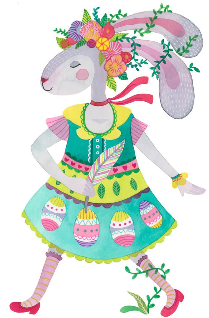 Sanne Bruinsma Illustraties & Vormgeving Illustratie Pasen konijn bloemen pastel jurk