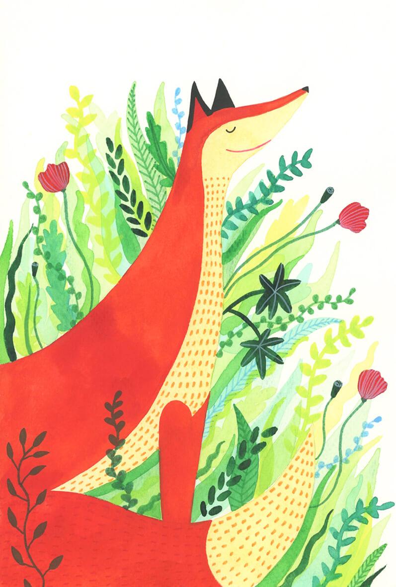 Sanne Bruinsma Illustraties & Vormgeving vos dier bloemen klaproos planten illustratie