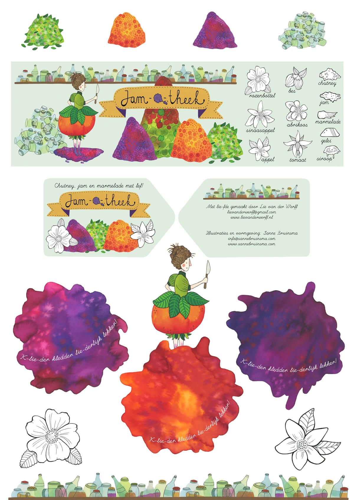 Sanne Bruinsma Illustraties & Vormgeving - Etiket ontwerp jam marmelade wikkel