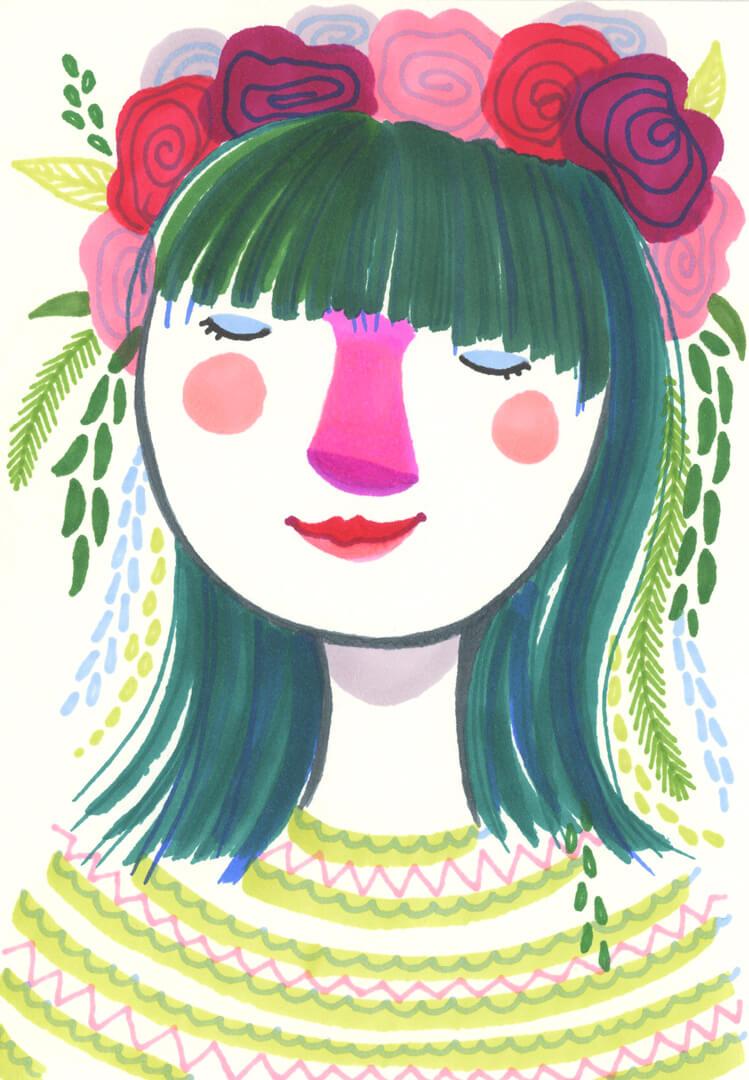 Sanne Bruinsma Illustraties & Vormgeving meisje bloemenkroon markers schetsboek groen haar