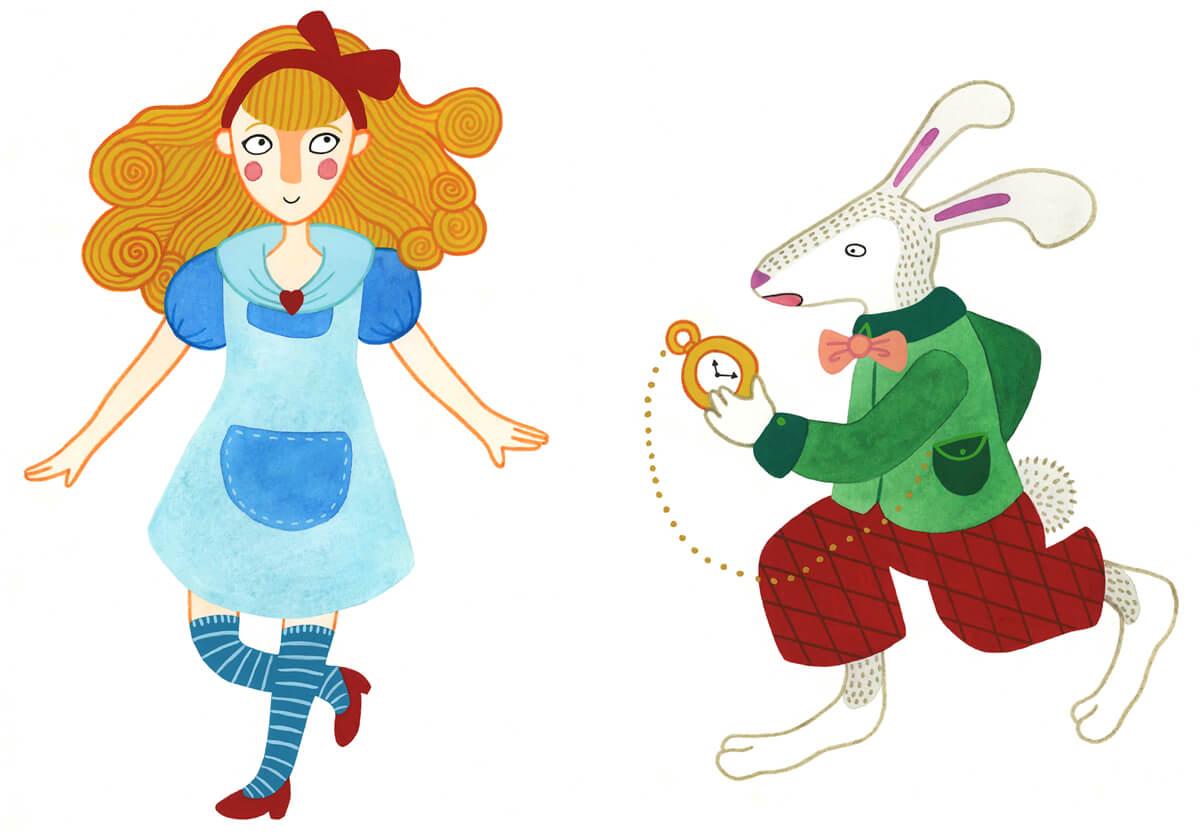 Sanne Bruinsma Illustraties & Vormgeving Boekie Boekie stArt Award 2015 Alice in Wonderland wedstrijd inzending Alice het witte konijn karakters personages