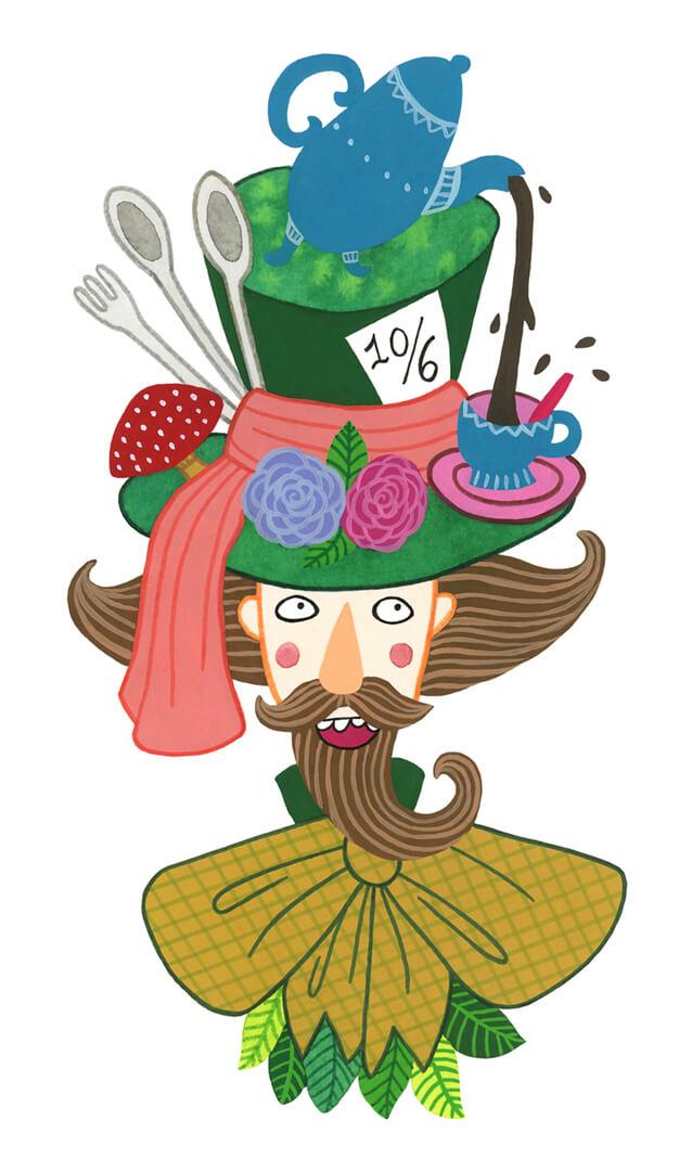 Sanne Bruinsma Illustraties & Vormgeving Boekie Boekie stArt Award 2015 Alice in Wonderland wedstrijd inzending gekke hoedenmaker mad hatter karakter personage hoed strik