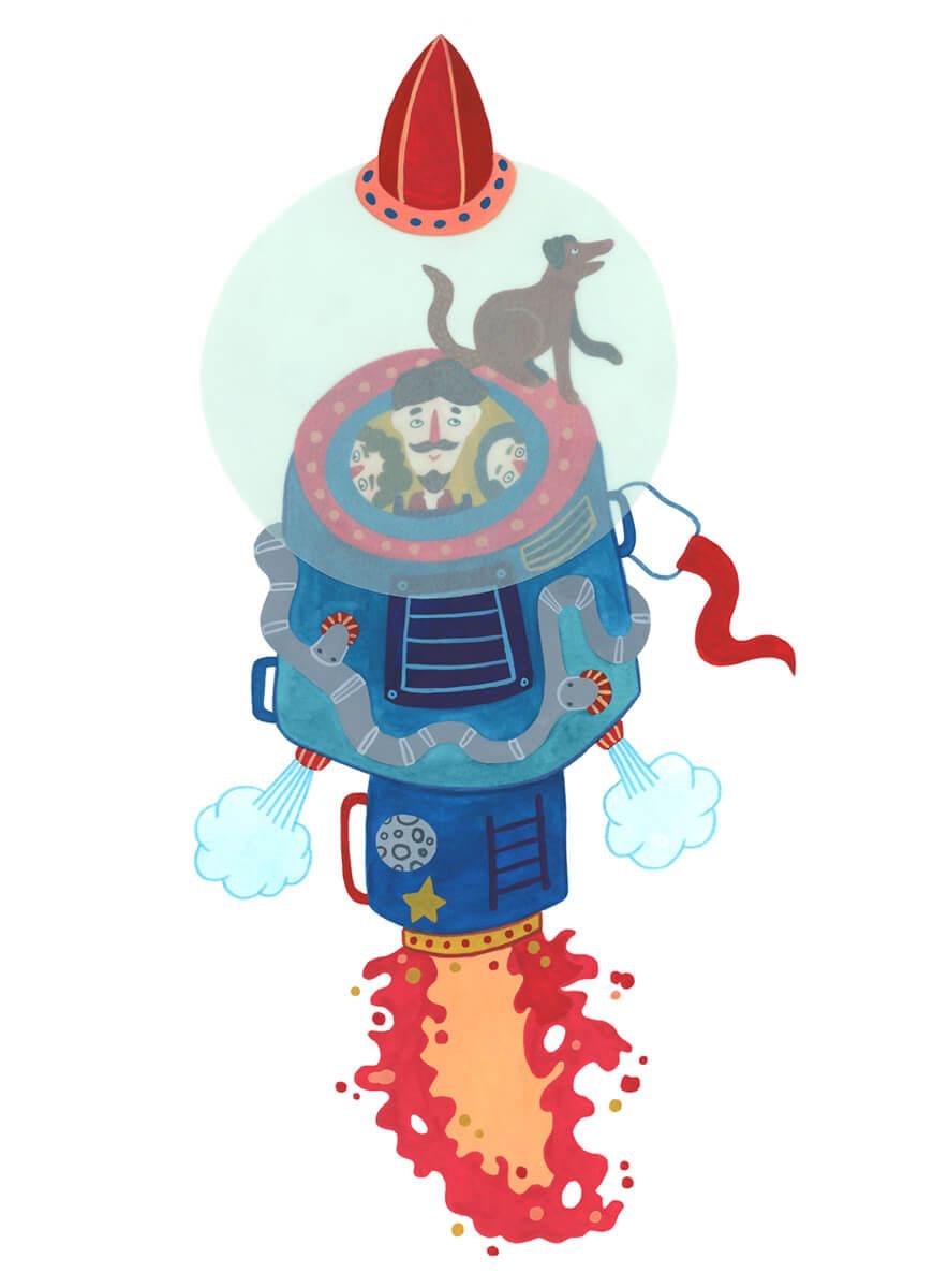Sanne Bruinsma Illustraties & Vormgeving Boekie Boekie stArt Award 2016 Jules Verne raket naar de maan ruimte reis illustratie