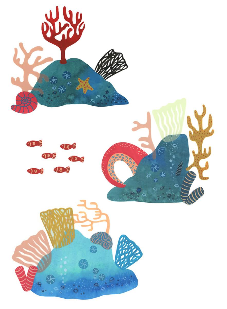 Sanne Bruinsma Illustraties & Vormgeving Boekie Boekie stArt Award 2016 Jules Verne twintigduizend mijlen onder zee inzending oceaan koraal duiker octopus vissen zee