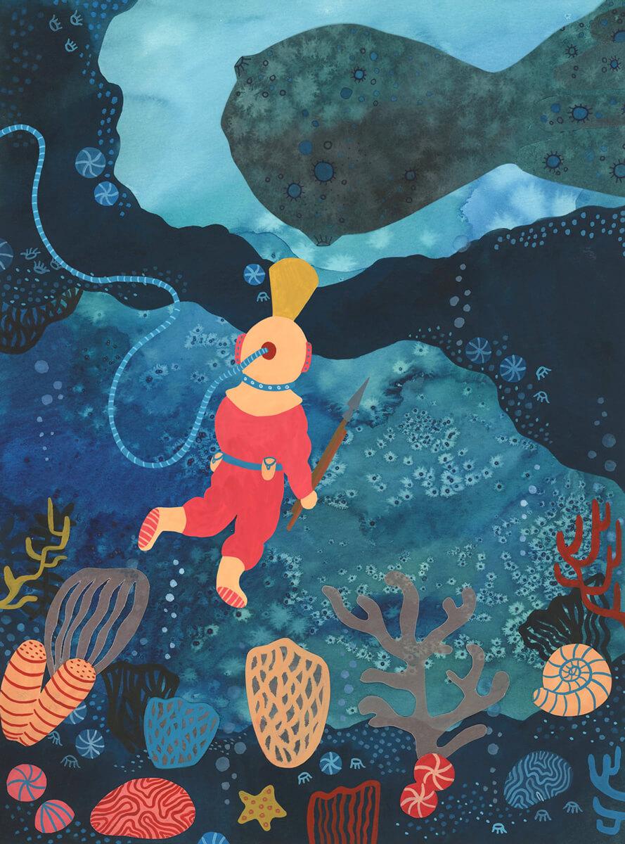 Sanne Bruinsma Illustraties & Vormgeving Boekie Boekie stArt Award 2016 Jules Verne twintigduizend mijlen onder zee inzending