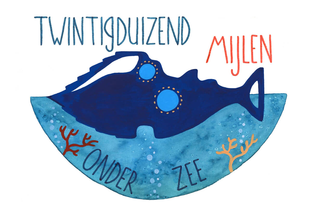 Sanne Bruinsma Illustraties & Vormgeving Boekie Boekie stArt Award 2016 Jules Verne twintigduizend mijlen onder zee inzending oceaan koraal duiker octopus vissen zee titel