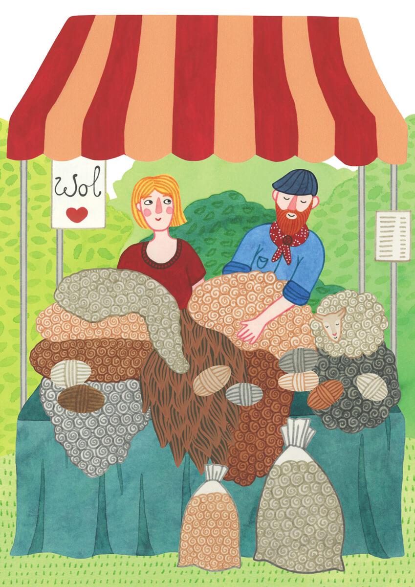 Sanne Bruinsma Illustraties & Vormgeving Drentse Uitmaand campagne K&C Assen 2015 illustraties cultuur evenement kunst markt wol ambacht schaap