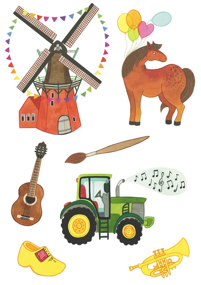 Sanne Bruinsma Illustraties & Vormgeving Drentse Uitmaand campagne K&C Assen 2015 illustraties cultuur evenement kunst molen tractor