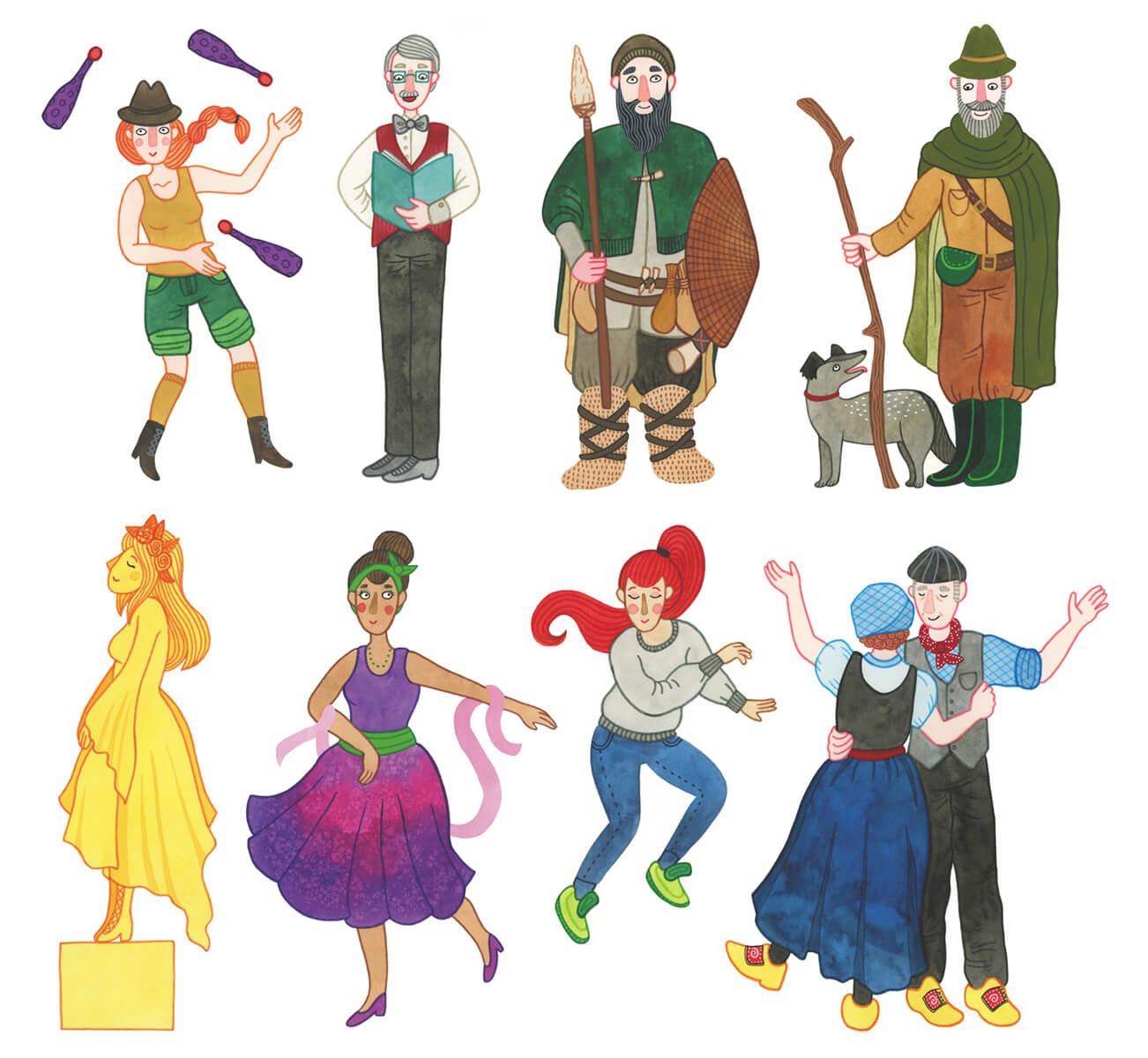 Sanne Bruinsma Illustraties & Vormgeving Drentse Uitmaand campagne K&C Assen 2015 illustraties cultuur evenement kunst zanger danser herder jongleur