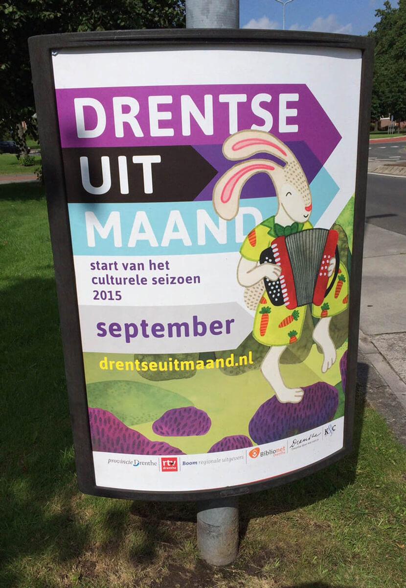 Sanne Bruinsma Illustraties & Vormgeving Drentse Uitmaand campagne K&C Assen 2015 illustraties cultuur evenement kunst poster ontwerp Drenthe provincie