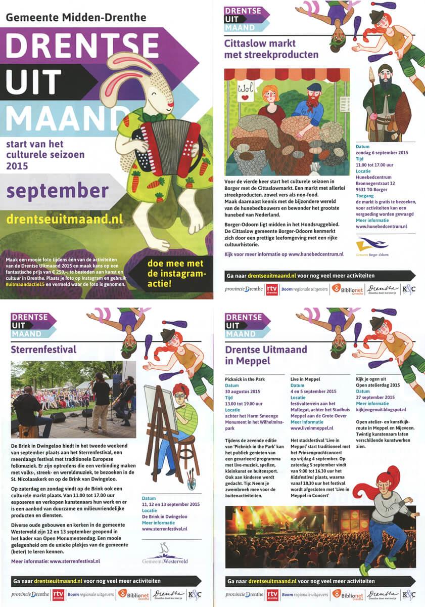 Sanne Bruinsma Illustraties & Vormgeving Drentse Uitmaand campagne K&C Assen 2015 illustraties cultuur evenement kunst flyer promotie