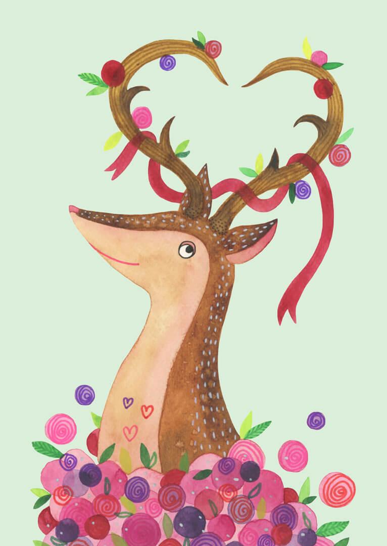 Sanne Bruinsma Illustraties & Vormgeving Valentijn ansichtkaart versturen post mail card liefde romantisch hert deer bloemen