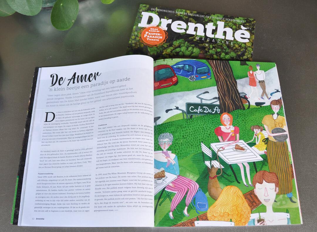 Drenthe Magazine nummer 1 2017 - Illustratie artikel cafe De Amer muziek optreden concert tijdschrift blad Drents cultuur cultureel natuur ontdekken