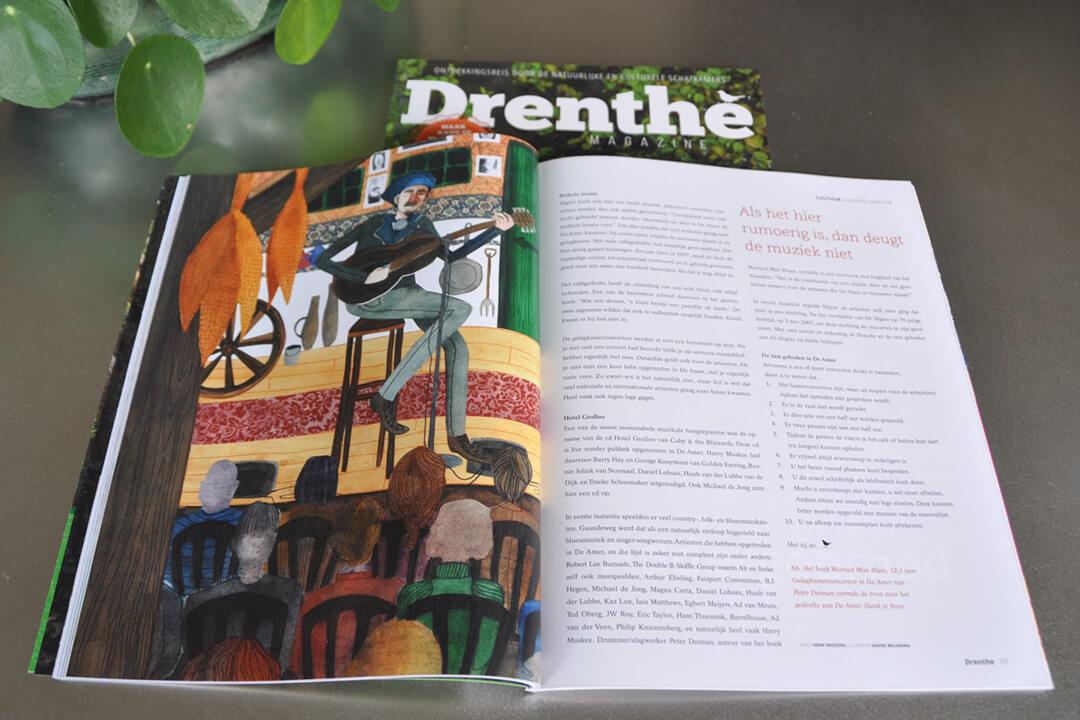 Drenthe Magazine nummer 1 2017 - Illustratie artikel cafe De Amer muziek optreden tijdschrift Drents cultuur natuur ontdekken provincie