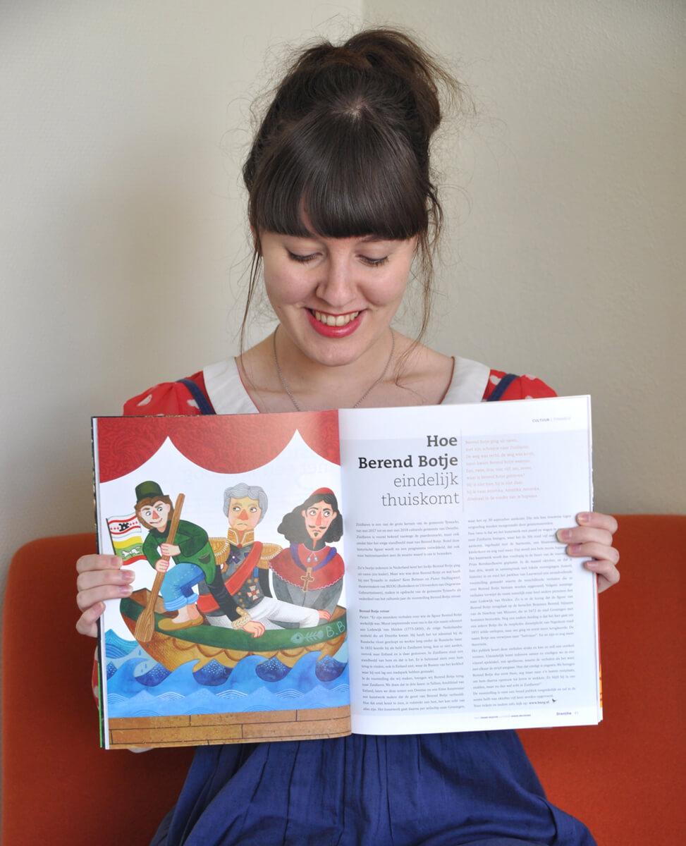 Sanne-Bruinsma-illustratie-illustration-illustrator-illustratrice-Drenthe-Magazine-2017-Berend-Botje-retour-voorstelling-publicatie-tijdschrift-blad-foto