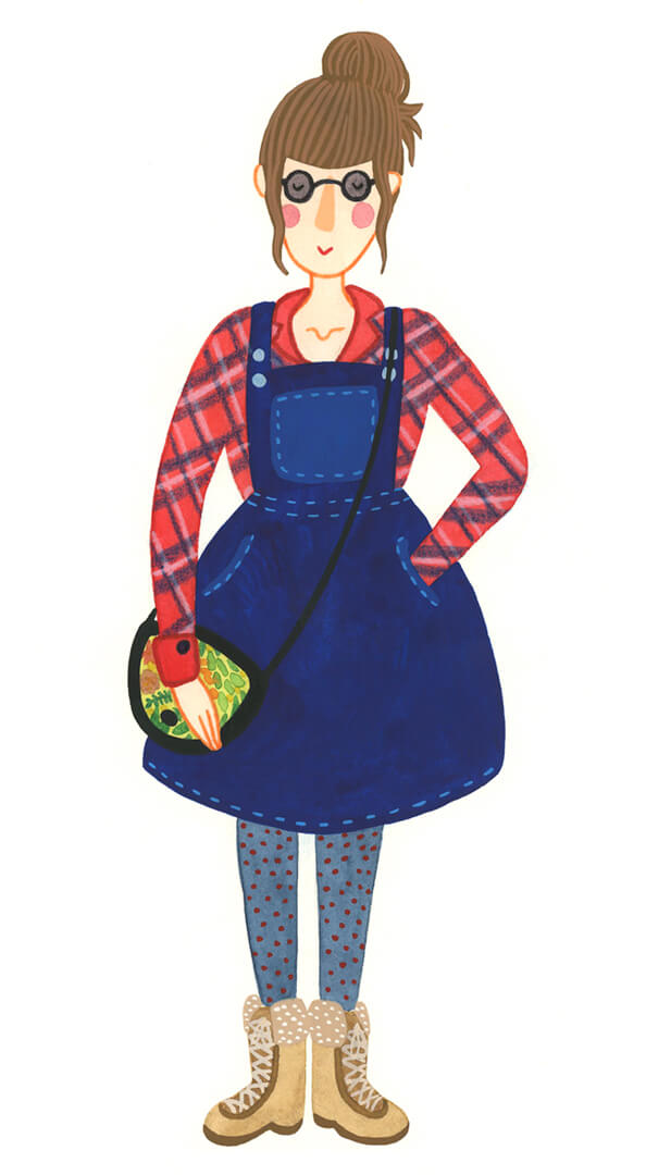 Sanne Bruinsma Illustraties & Vormgeving zelfportret illustratie illustrator meet the artist spijkerjurk blouse houthakker knot Elle Aime teken challenge