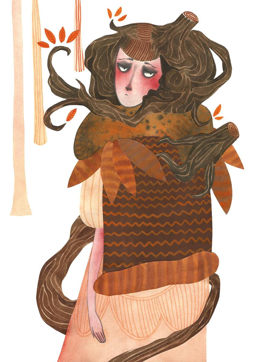 Sanne Bruinsma Illustraties & Vormgeving illustratie herfst depressie autumn depression verdriet treurig bos woud forest leaves bladeren jurk fantasy waterverf aquarel