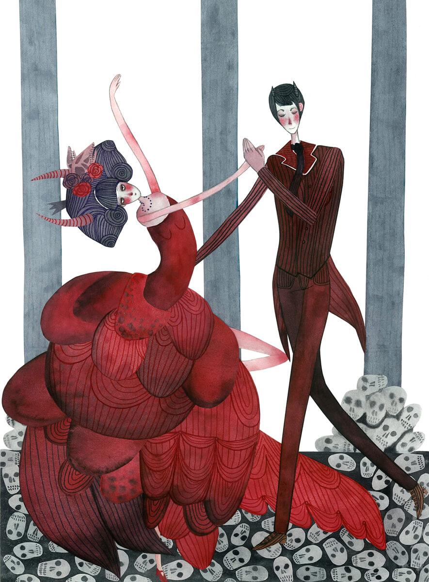 Sanne Bruinsma Illustraties & Vormgeving illustratie dans met de duivel dansen ballroom elegant fantasy jurk gentleman lovers waterverf koppel liefde romantisch