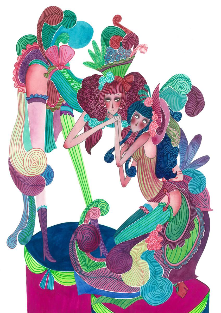 Sanne Bruinsma Illustraties & Vormgeving illustratie dancing dames dansen vrouwen ladies women burlesque veren korset costume kostuum feest elegant