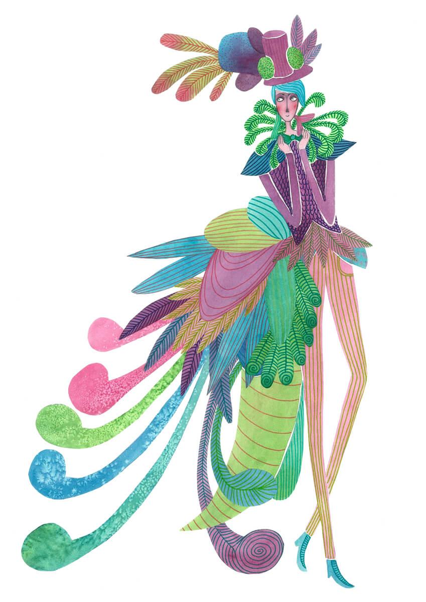 Sanne Bruinsma Illustraties & Vormgeving illustratie peacock suit pauw pak veren gentleman prins kostuum heer hoed elegant pastel verkleed waterverf collage