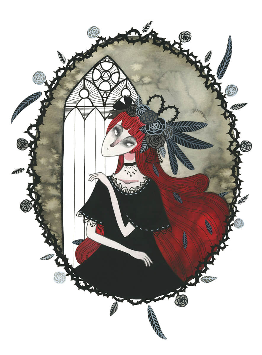 Sanne Bruinsma Illustraties & Vormgeving illustratie veren rozen meisje mysterieus fantasy church kerk halloween thorns lady red hair pale vampier vampire