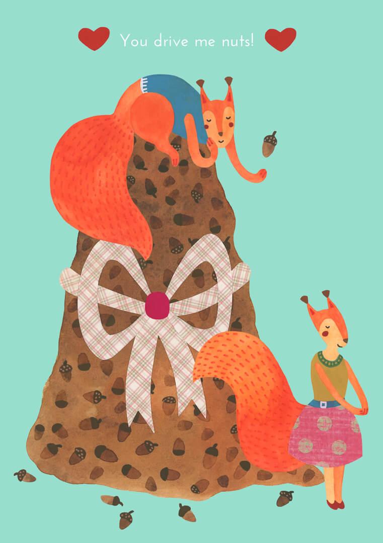 Sanne Bruinsma Illustraties & Vormgeving Valentijn kaart post liefde eekhoorns illustratie schattig love