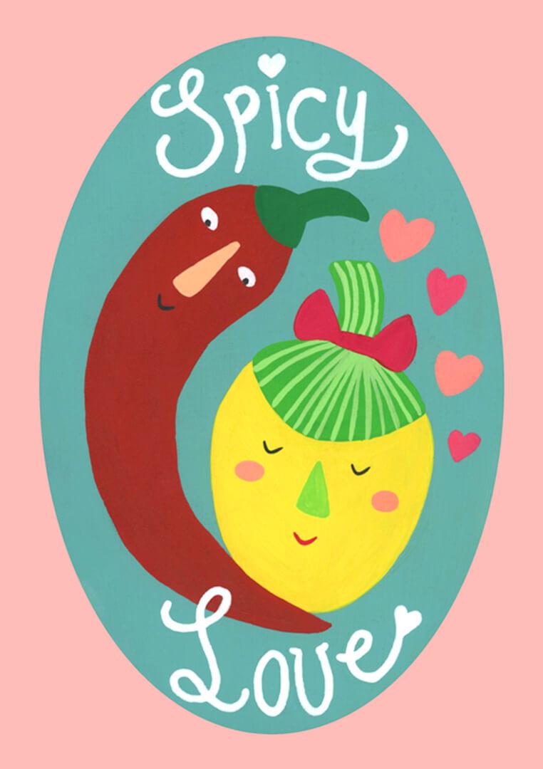 Sanne Bruinsma Illustraties & Vormgeving Valentijn kaart post liefde spaanse pepers Chilipeper illustratie