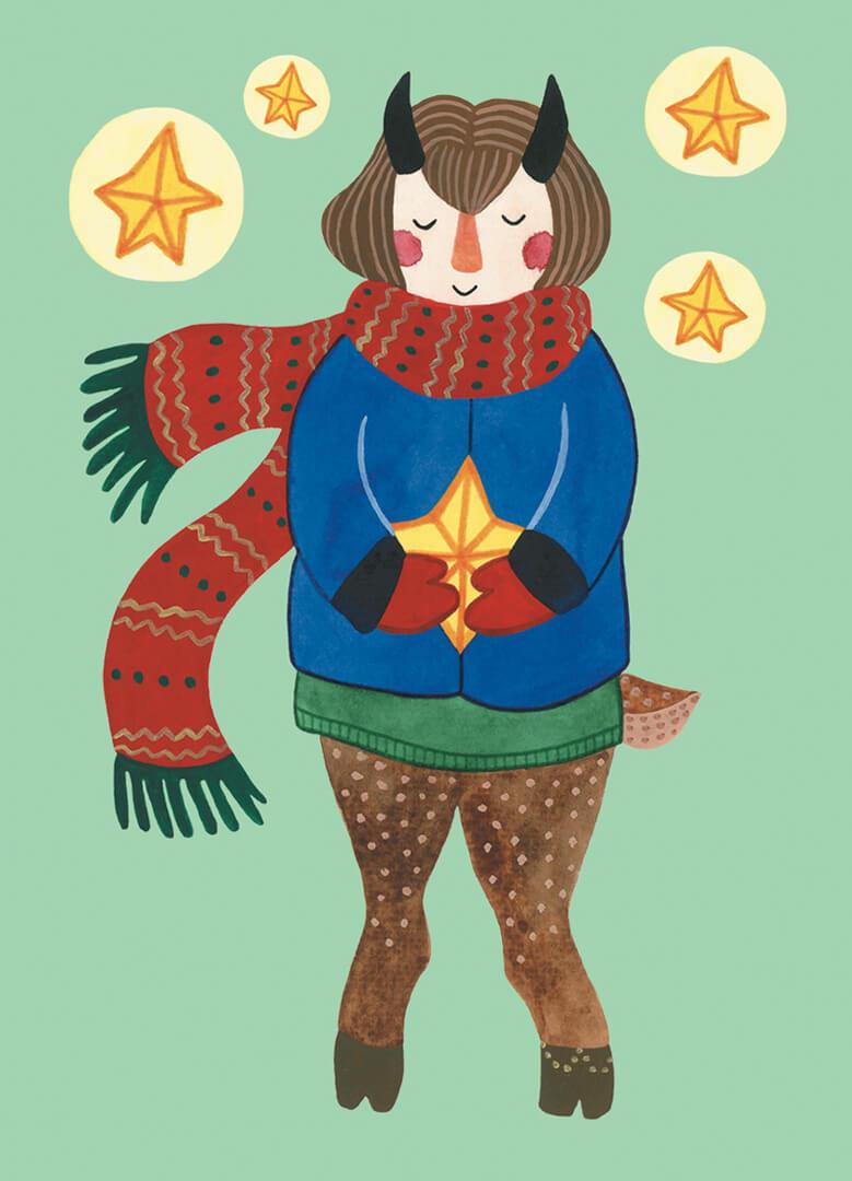 Sanne Bruinsma Illustraties & Vormgeving kerst kerstkaart ansichtkaart post Christmas faun hert sjaal sterren winterjas